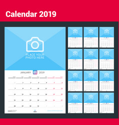 Wall calendar for 2019 year design print template vector
