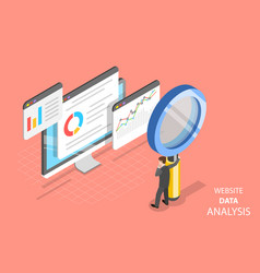 Website data analysis flat isometric vector