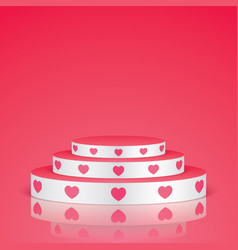 White pedestal with pink hearts vector