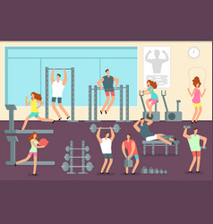 woman and man doing various sports exercises in vector image