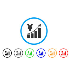 yen growth graph rounded icon vector image