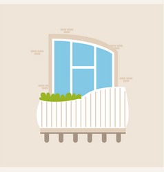 balcony of a modern house with plants vector image vector image