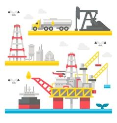 Flat design oil rig set vector image