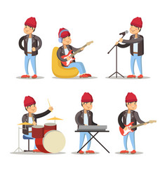 musicians cartoon man playing on guitar vector image