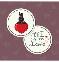 valentine card with dog on heart vector image