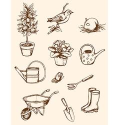 Vintage hand drawn garden tools vector