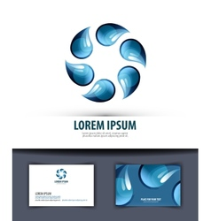 water Logo icon emblem template business card vector image