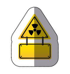 yellow metal emblem warning radiation notice sign vector image vector image