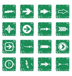 arrow icons set grunge vector image vector image