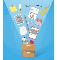 box full of office supplies vector image