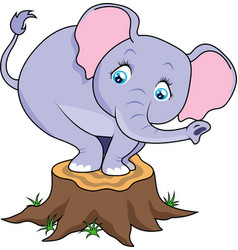 cartoon cute baby elephant terrified on tree stump vector image vector image