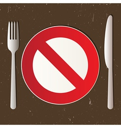 Cutlery and prohibited sign vector image vector image