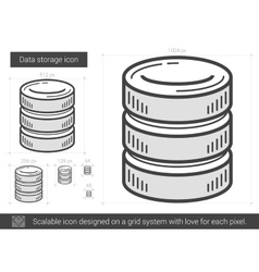 Data storage line icon vector