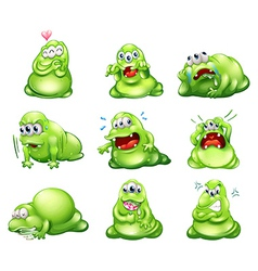 Nine green monsters engaging in different vector image vector image