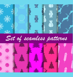 set of christmas seamless patterns sweets gift vector image