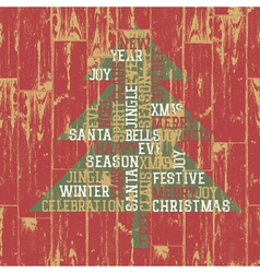 xmas tree from words vector image