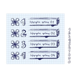 Doodle style number options banner vector image
