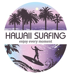 Hawaii Surfing Tropical Background vector image