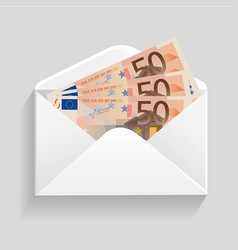open envelope and 50 euro bills cash vector image vector image