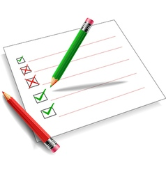 Pencil green and red background white vector image vector image