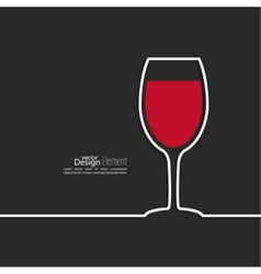 Ribbon in the form of wine glass with shadow and vector image vector image