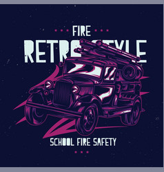 t-shirt label design with vintage fire truck vector image