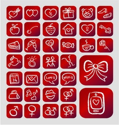 Love Icons Chalk Drawing Style vector image