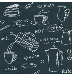 Seamless pattern with chalkboard coffee items vector image vector image