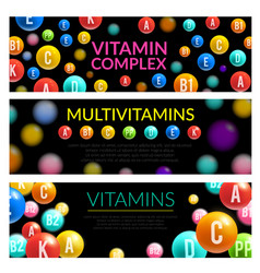 vitamin complex of dietary supplement 3d banner vector image