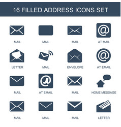 16 address icons vector