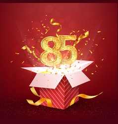 85 th years number anniversary and open gift box vector image