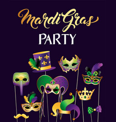 Banner template with golden carnival masks on vector