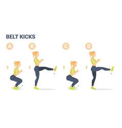 Belt kicks female home workout exercise guidance vector