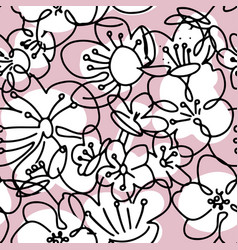 big cherry flowers abstract shapes and lines vector image