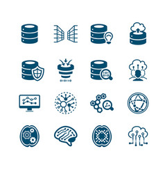 big data icons - micro series vector image