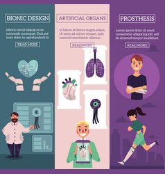 Bionic organs infographic posters set vector