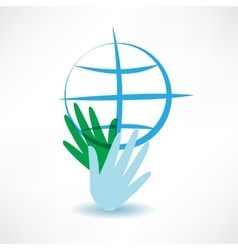 blue globe in hands icon vector image vector image