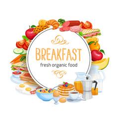 breakfast round banner template menu food design vector image