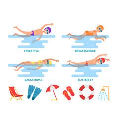 Breaststroke and backstroke vector