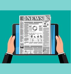 business news on screen tablet computer screen vector image