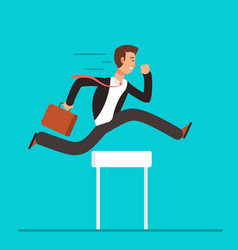 businessman jumping over hurdles business vector image