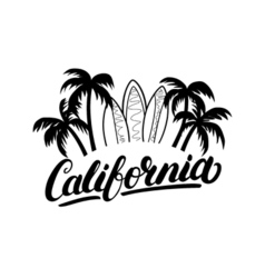 California hand written lettering with palms and vector