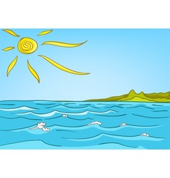 cartoon nature landscape sea vector image