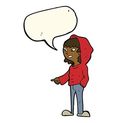 Cartoon pointing teenager with speech bubble vector