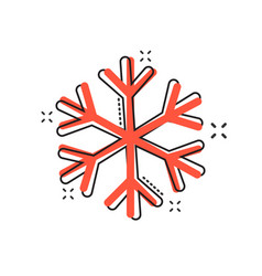 cartoon snowflake icon in comic style winter sign vector image