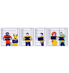 characters criminal mugshot front side view vector image