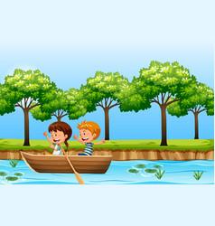 children paddle wooden boat vector image