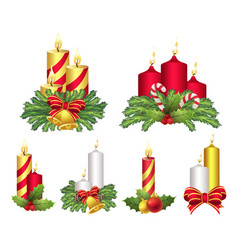 Christmas candles set celebration and light vector
