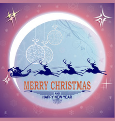christmas violet card with big bright moon and vector image