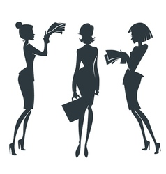 collection of business girl silhouettes vector image